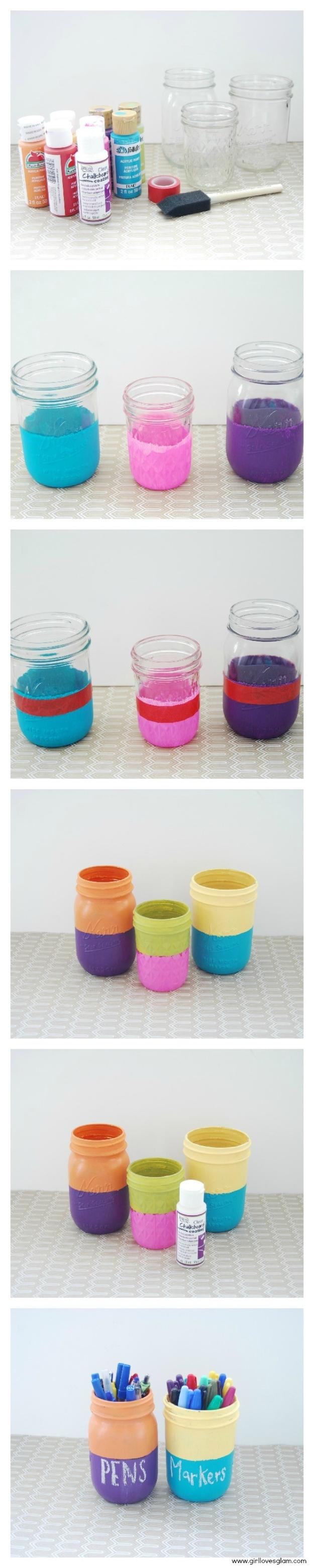 Pinte frascos de conserva com cores sólidas